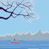 Japanese landscape with sakura Stock Photos