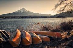 Japanese landscape at sunset. Lake Kawaguchi and Mt Fuji at sunset royalty free stock photo