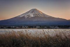 Japanese landscape at sunset. Mount Fuji viewed from Kawaguchi lake at sunset, Japan royalty free stock photography