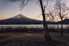 Japanese landscape at sunset. Mount Fuji viewed from Kawaguchi lake at sunset, Japan royalty free stock image