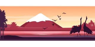 Japanese landscape sunset Stock Photos