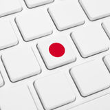 Japanese language or Japan web concept. National flag button or Stock Photography