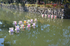 Japanese lantern. Lanterns floating on water. Photo taken Dec 2014 Stock Photography