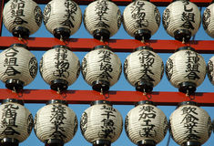 Japanese Lanterns. Japanese traditional lanterns as a decorations infrond of a shrine in Tokyo Stock Images