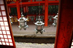 Japanese lanterns. Japanese metal lanterns in a shinto shrine in Nara Royalty Free Stock Photo