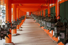 Japanese lanterns. In Nara Japan Royalty Free Stock Photo