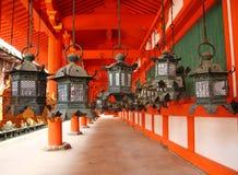 Japanese lanterns in Nara Royalty Free Stock Image