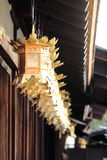 Japanese lanterns in Shimogamo shrine, Kyoto. Japan Royalty Free Stock Images