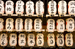 Japanese Lanterns Shrine Kyoto Japan. Traditional Japanese Lanterns with Kanji characters on them in Shrine, Kyoto, Japan Royalty Free Stock Images