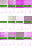 Japanese laurel and electric violet colored geometric patterns calendar 2016 Stock Photo