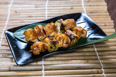 Japanese Leek Pork Belly Kushiyaki, Skewered and Grilled Meat Royalty Free Stock Images