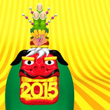 Japanese Lion Dance With 2015 Number And Kadomatsu On Golden Text Space Royalty Free Stock Photography
