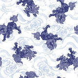 Japanese lion pattern Royalty Free Stock Photo