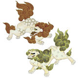 Japanese lion. The lion which appears in the myth. I painted a Japanesque lion in a freehand drawingn Stock Image