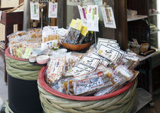 Japanese local food products sold at Arima Onsen village in Kobe, Japan Royalty Free Stock Photos