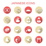 Japanese long shadow icons vector illustration