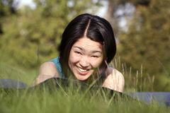 Japanese look. Japanese girl smiling royalty free stock photo