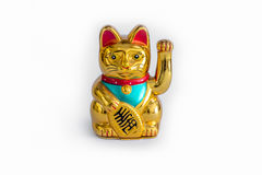 Japanese Lucky Cat (Maneki Neko). Oriental Japanese Lucky Cat (Maneki Neko) isolated on white background stock photography