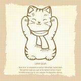 Japanese lucky cat vintage pattern Stock Photo
