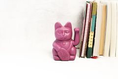 Japanese lucky cat on white background. Modern Japanese lucky cat on a book shelf stock photo