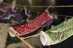 Japanese lucky fish in a temple. Night scene of hanging japanese lucky fish Stock Images