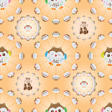 Japanese lucky owl circle seamless pattern Stock Images