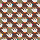 Japanese lucky owl diamond side seamless pattern Royalty Free Stock Image