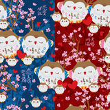 Japanese lucky owl pink love sakura seamless pattern. This illustration is drawing Japanese lucky owl in love theme with blue and red color or colors background Stock Photos