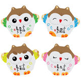 Japanese lucky owl set Stock Photography