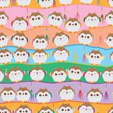 Japanese lucky owl stand line seamless pattern Stock Photo