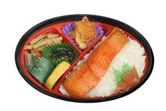 Japanese lunch box 1. Japanese lunch box (obento) with fish, rice and vegetables Royalty Free Stock Images