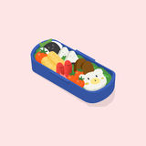 Japanese lunch box, bento. Funny cartoon food. Isometric colorful vector illustration on pink background. Japanese lunch box, bento. Funny cartoon food Royalty Free Stock Photos