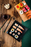 Japanese Lunch, Fresh Sushi Set Royalty Free Stock Images