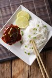 Japanese lunch: hamburg steak or hambagu with sauce and rice noo Royalty Free Stock Images