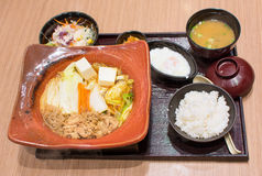 Japanese lunch set in wooden bowls Royalty Free Stock Photography