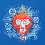 Japanese macaque and snowflakes. Vector New Year illustration with stylized Japanese macaque and snowflakes (EPS 10 royalty free illustration