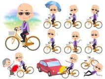 Japanese mafia yakuza men_city bicycle Royalty Free Stock Photo