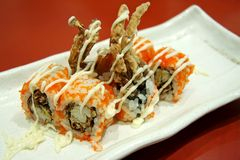 Japanese maki. Softshell crab maki, traditional japanese rice roll with seafood Royalty Free Stock Images
