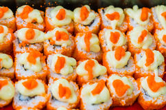 Japanese maki with Ebiko (shrimp roe) Stock Photo
