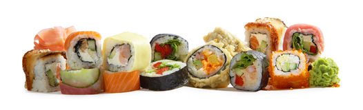 Japanese maki mix rolls assorted Royalty Free Stock Photo
