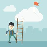 Japanese man with career ladder Royalty Free Stock Image