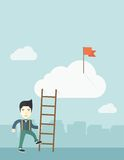 Japanese man with career ladder Stock Photo