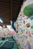 A Japanese man climbing a rock wall indoor. Royalty Free Stock Photo
