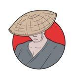 Japanese man illustration Royalty Free Stock Image