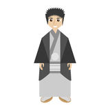 Japanese man wearing traditional dress. Illustration eps 10 Royalty Free Stock Image