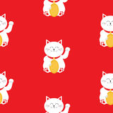 Japanese Maneki Neco kitten waving hand paw. Lucky cat holding golden coin. Seamless Pattern Cute character. Wrapping paper, texti Royalty Free Stock Image