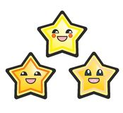 Japanese manga cute stars vector illustration. Japanese manga stars hand drawn vector illustration isolated on white background. Cute cartoon happy yellow stars vector illustration