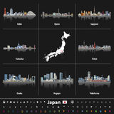 Japanese map with largest Japan city skylines. Navigation, location and travel icons. Royalty Free Stock Photos