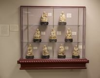 Japanese Marble Statuettes on display in a Museum Royalty Free Stock Photos
