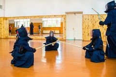 Japanese martial art of fighting the sword. School for children and adults. Sport stock photography